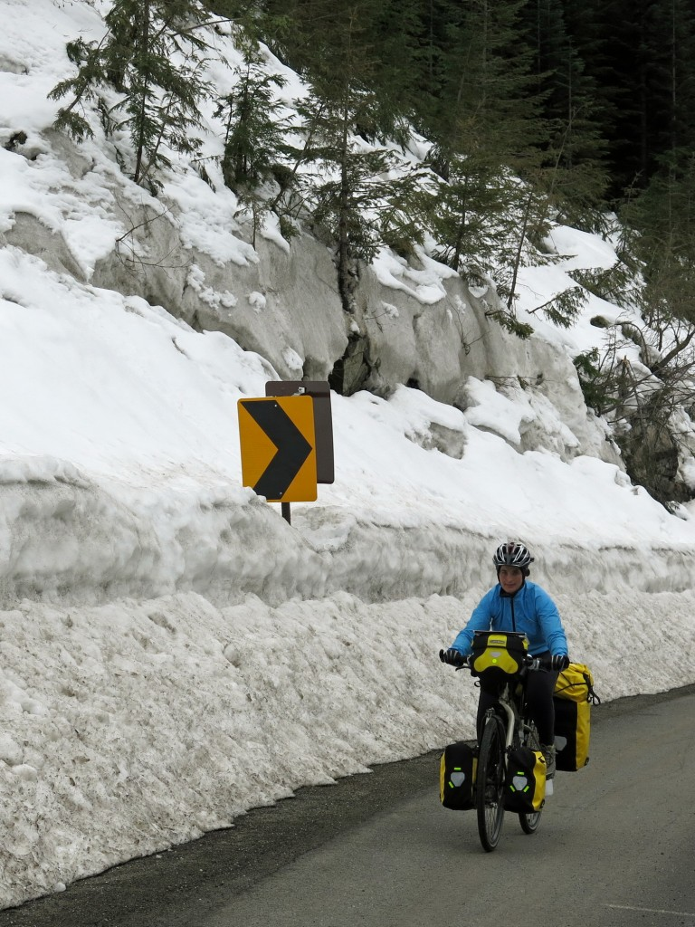 Kristin nearing the top of Stevens Pass.