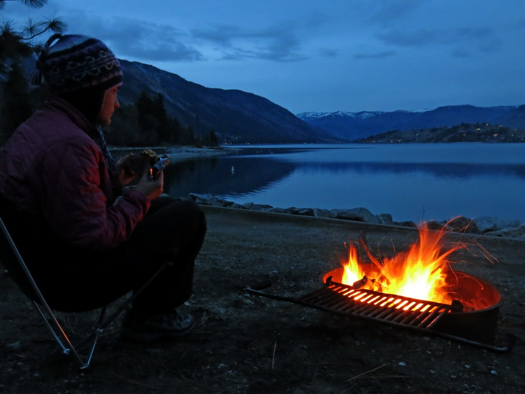 Moonpies and a campfire on the shores of Lake Chelan in central Washington state.