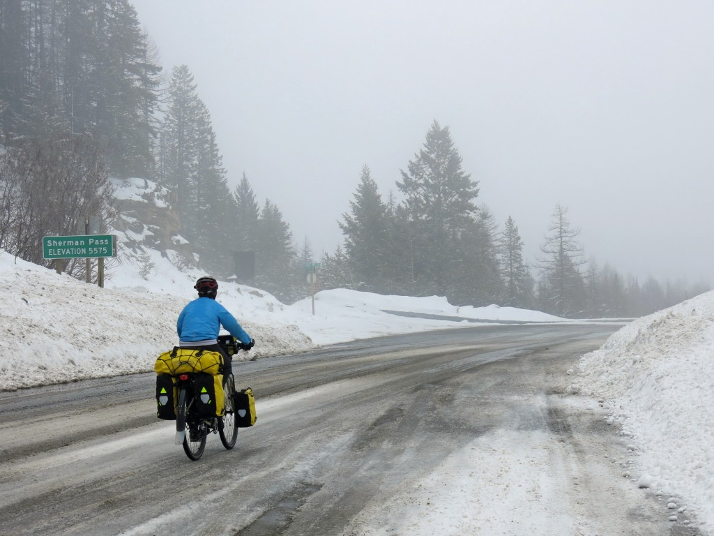 We crested the pass into a snowstorm that quickly turned to sleet as we descended.