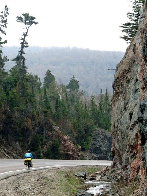 Rolling past some of the oldest rocks on earth. The Canadian Shield is comprised of rocks from 4.5 Billion years ago.