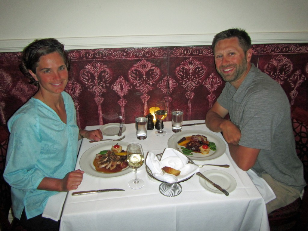 Enjoying a nice meal at the Bonaparte Restaurant in Montreal.
