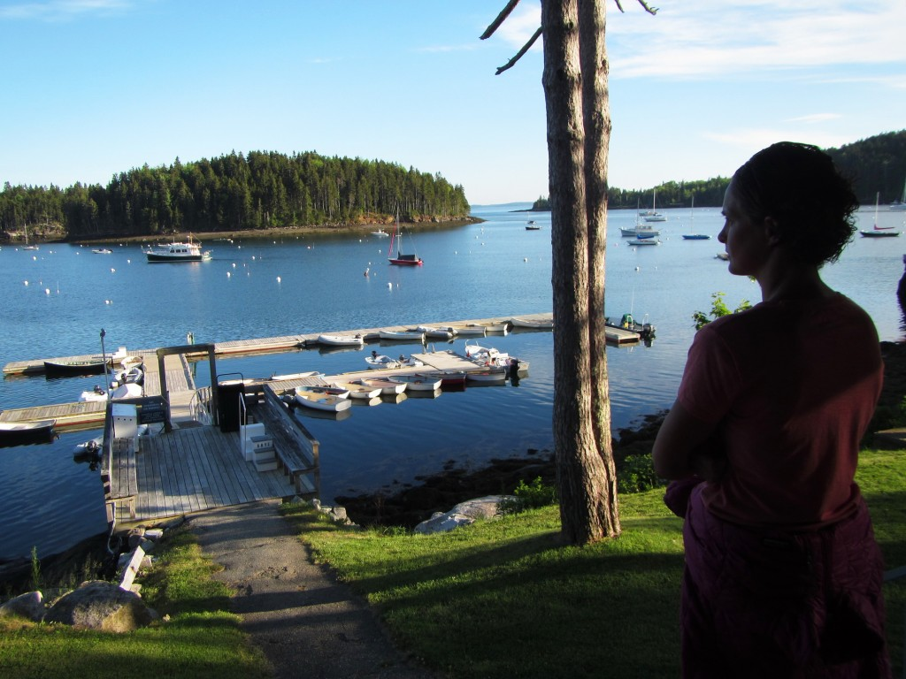 Kristin soaking in the view from the yacht club her grandfather used to belong to.