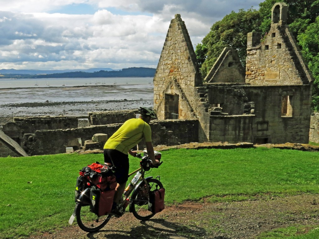 Cruising past St. Bridgett's Kirk across the Firth of Forth from Edinburgh.