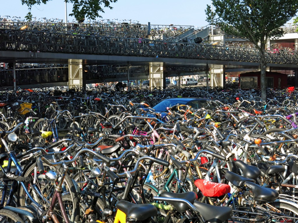 Amsterdam's main train station has storage capacity for 2500 bicycles. And you can bet it isn't always easy to find yours.