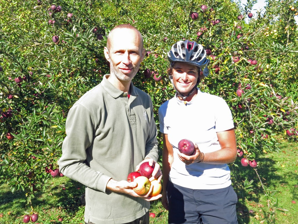 Sam heard us speaking English and called us over to his fence. He was in the French Air Force and served with some Americans and picked up some English. He was surprised to see us cycling through otherwise empty countryside and implored us to take as many apples as we wanted from his orchard.