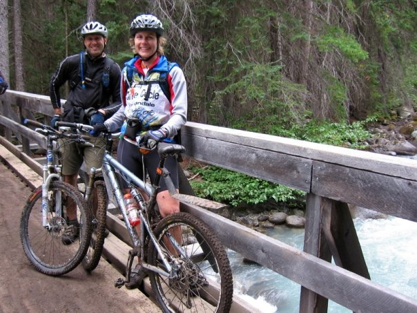 Ellen and I, back in 2006, at the end of a 25 mile backcountry ride through the Chilcotin Mountains in British Columbia. We, along with two other friends, hired a float-plane and a guide to drop us off deep in the backcountry for an absolutely epic singletrack experience. It was one of my favorite days.
