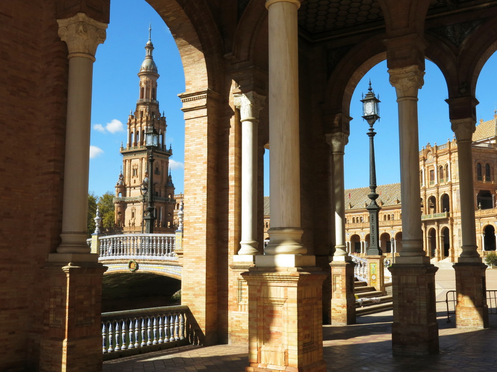 Seville's Plaza de Espana, also known as  the city of Theed on the planet Naboo in those Star Wars prequels.