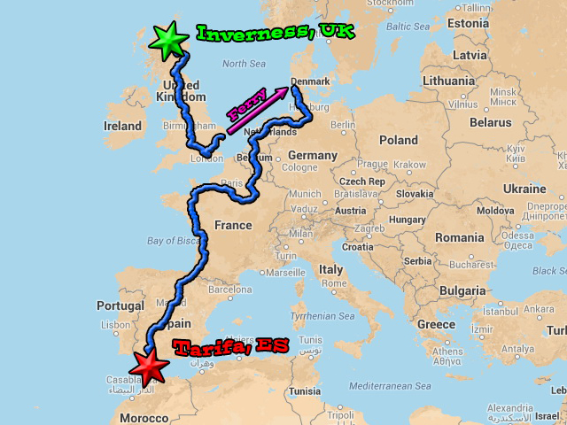 Our route across western Europe. And by across, we really mean more or less to the southwest. Hmmm...