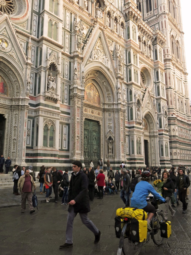 Kristin weaving through the traffic in front of the Duomo in Florence.