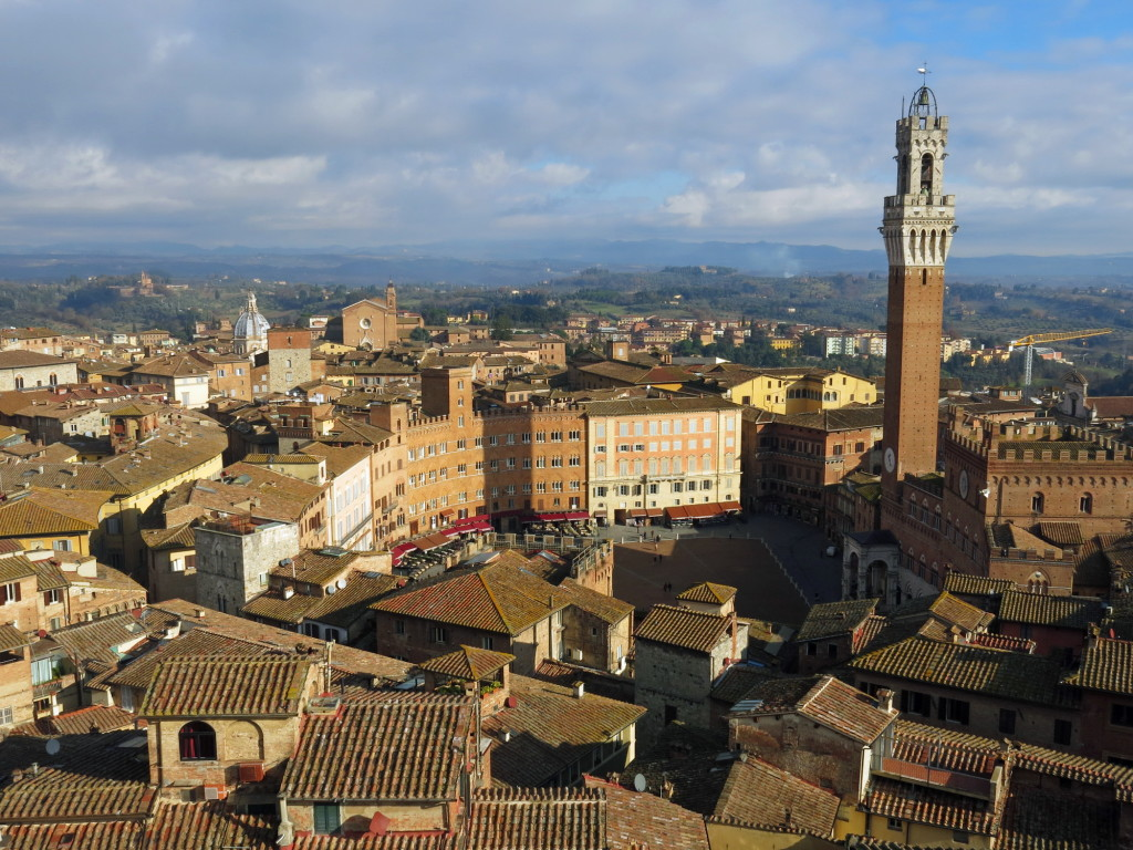 The view of the Piazza del Campo in Siena, site of a twice-annual horserace on a tight, hilly course.