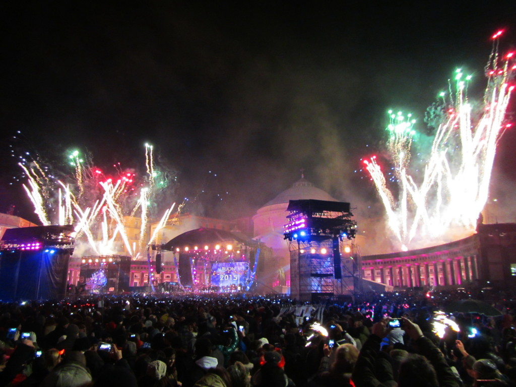 A small burst of fireworks at midnight in Naples. The main show didn't go off until 2 a.m.