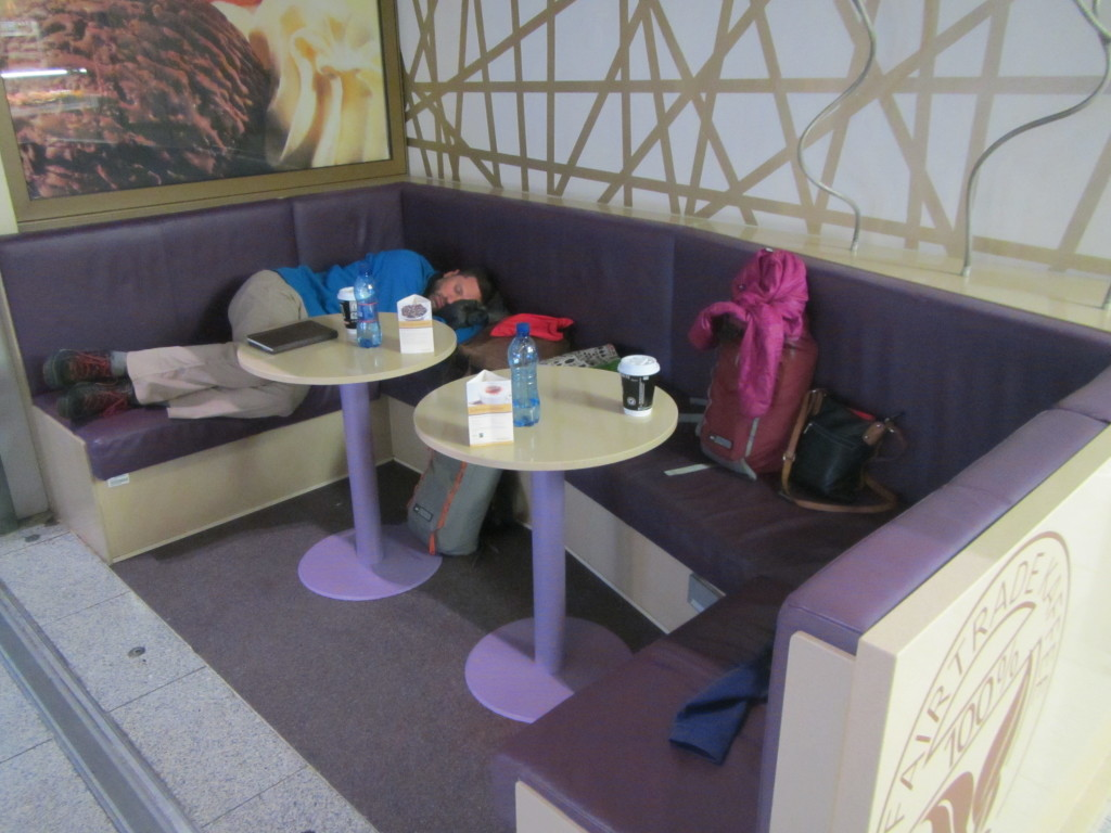 We spent the night camped out in a cafe at the Dusseldorf airport, waiting for our connecting flight to Miami.