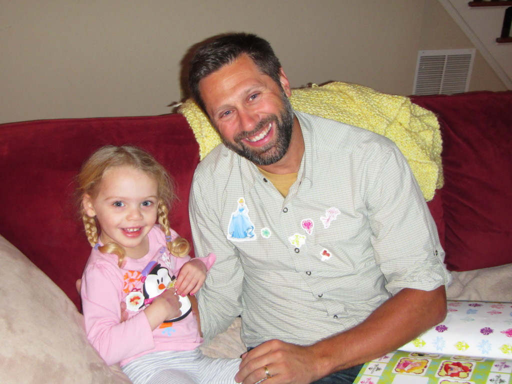 My niece was so excited to decorate Doug with Disney princess stickers.