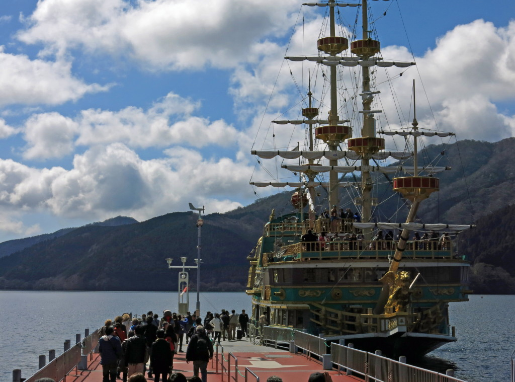 Once in Togendai, we boarded this pirate-styled tour ship for a 30-minut ride across the lake to Hakone-Mache.