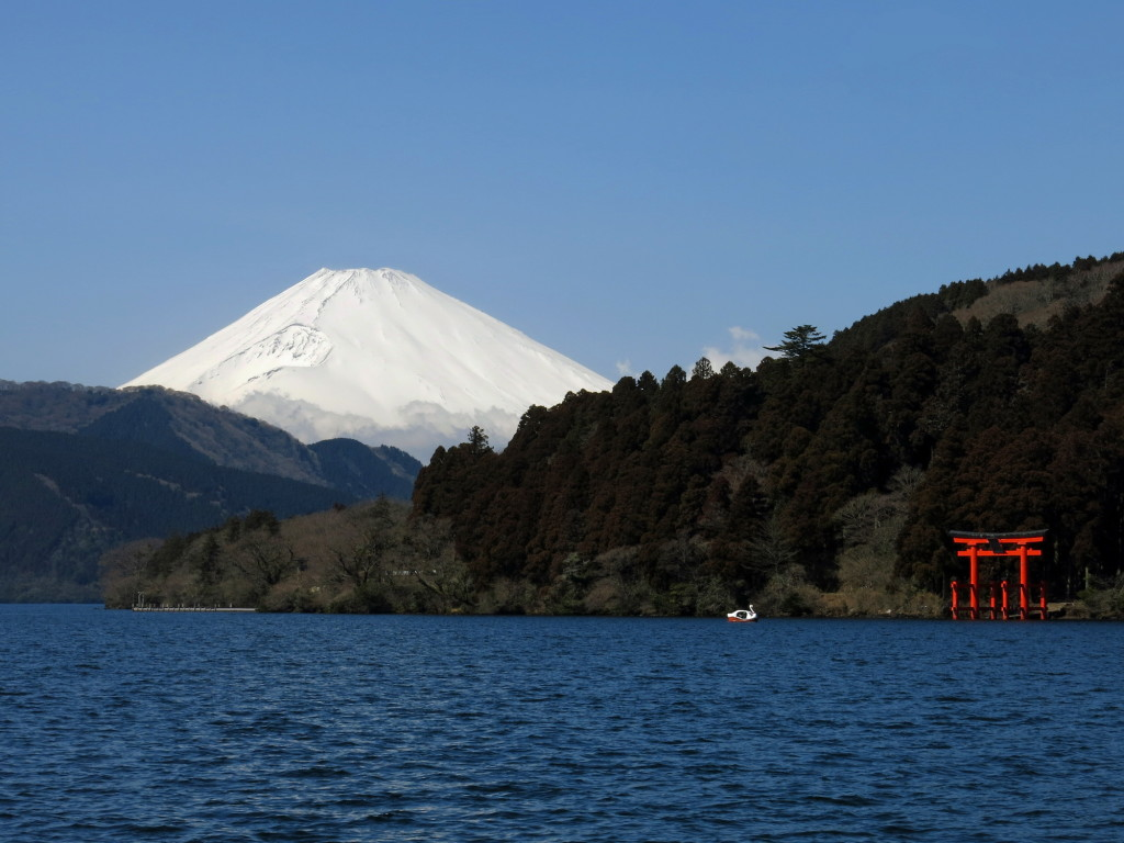 The southern shores of Lake Ashi offer an unblocked view of Mt. Fuji with the Hakone Shrine in the foreground.