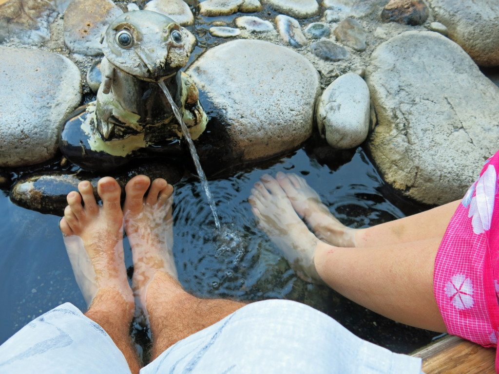 Hot spring foot baths can be found every few blocks throughout town.