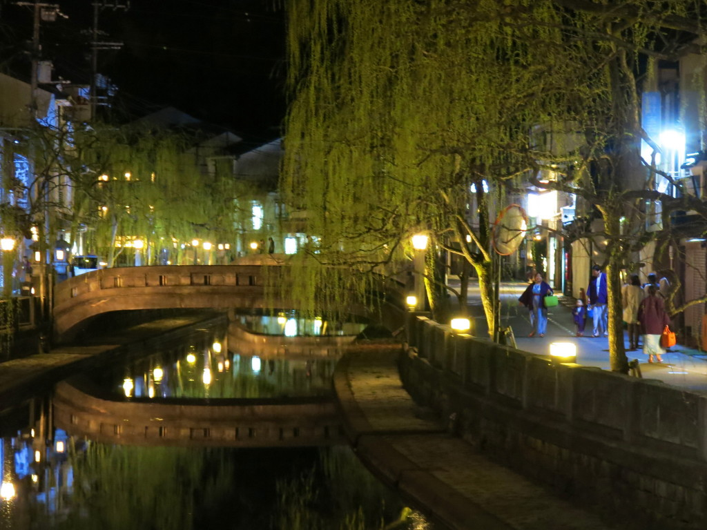 The night lights along the canal in Kinosaki.
