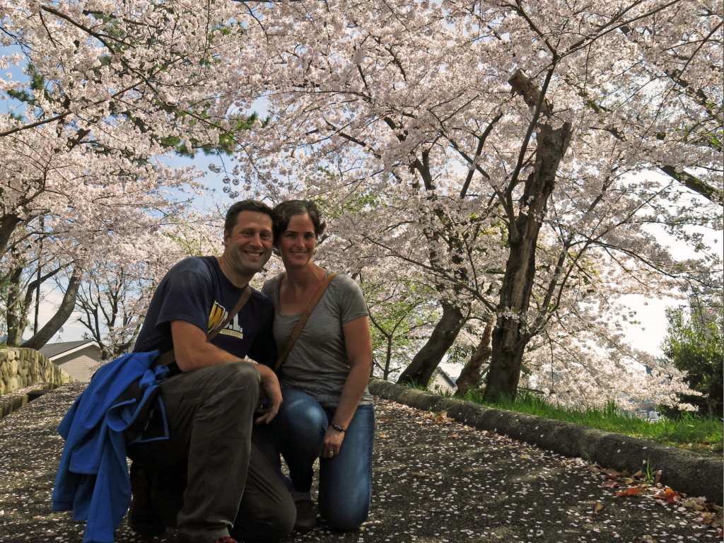 Kristin and I taking in peak-bloom at Mount Egeyama in Kobe.