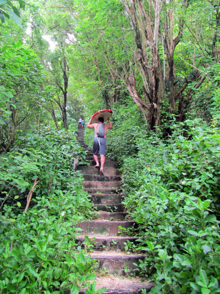 The 500 stairs down the cliff aren't so bad in the morning, but the return trip is a bit tougher.