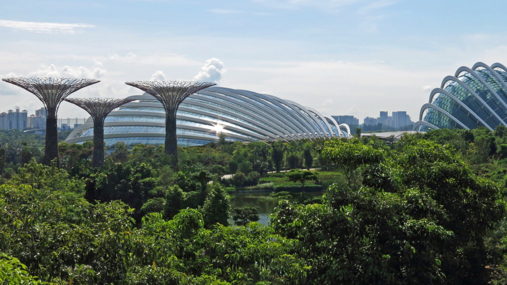 "Gardens by the Bay with a few of its ""super grove"" of trees and its giant climate-controlled attractions."