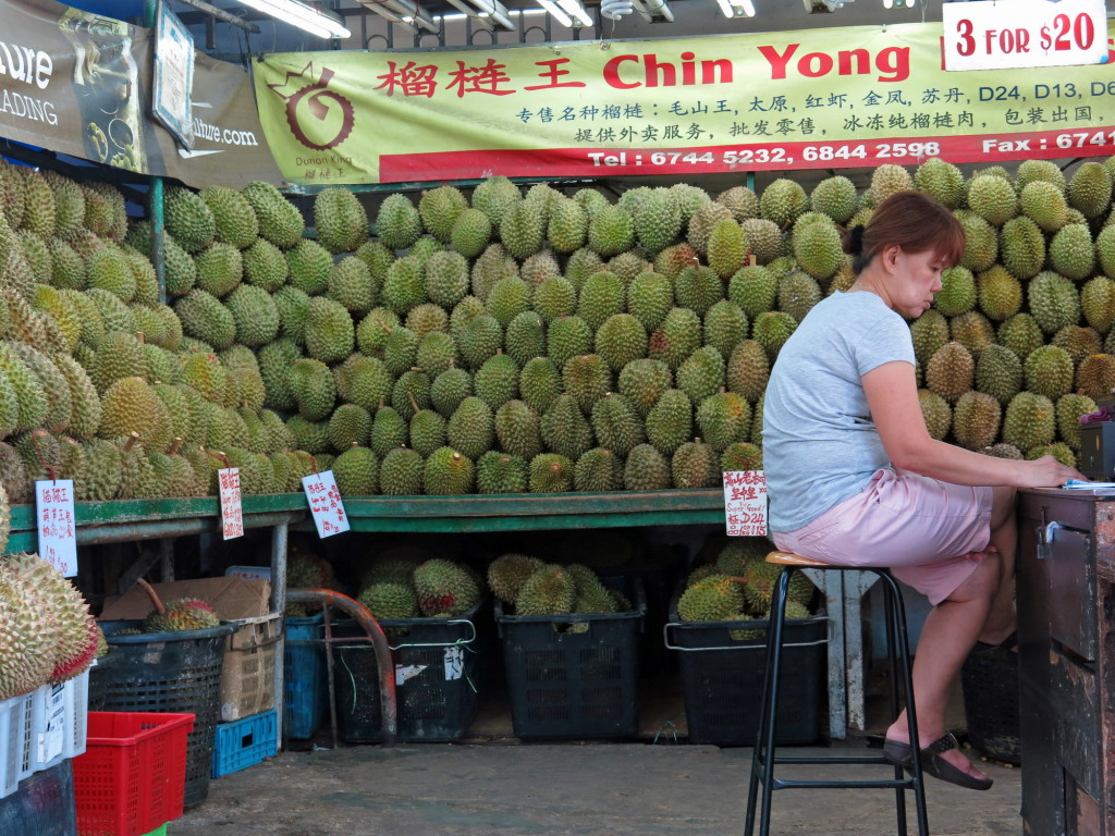 Just a small portion of the durians on display at this shop in the Geylang area of Singapore.