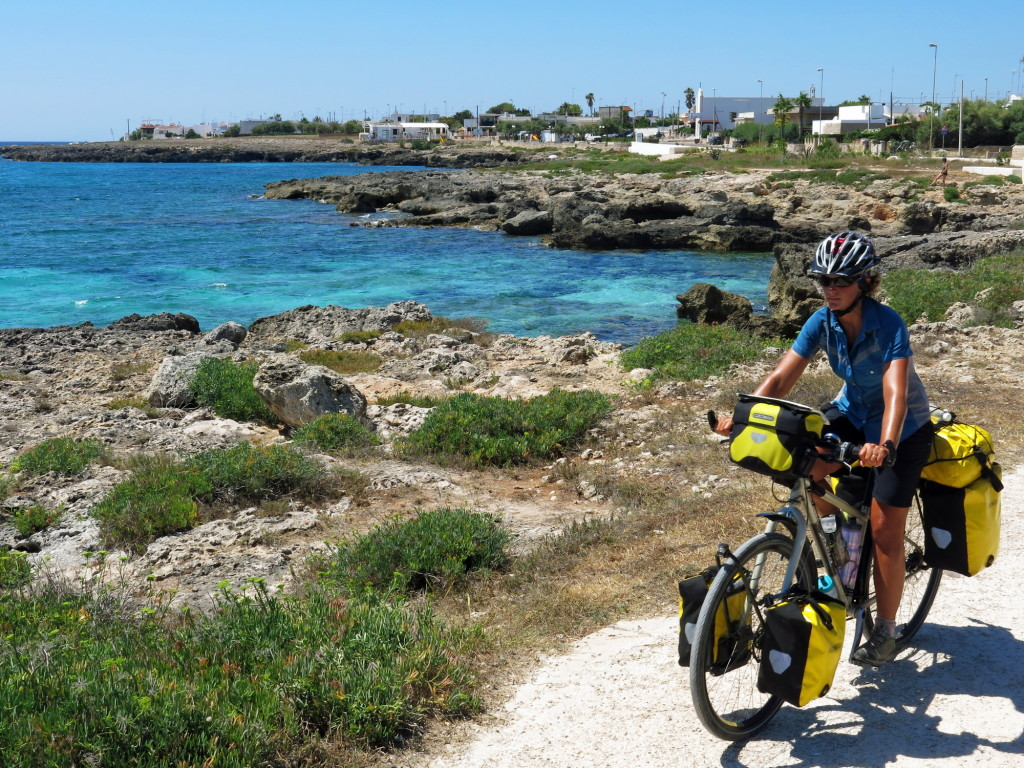 Enjoying a short section of winding bicycle trail along the Ionian coast.
