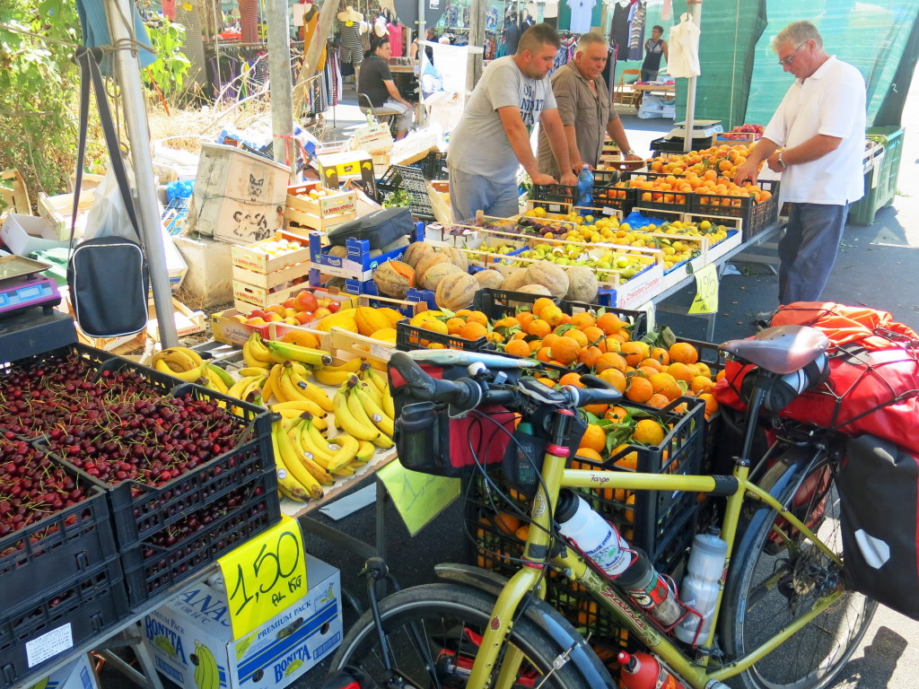 One way to beat the heat is by keeping a constant stock of apricots, plums, and cherries on the bike at all times. Fruit stands and trucks are everywhere and the fruit is seldom more than 1 Euro per kilogram.