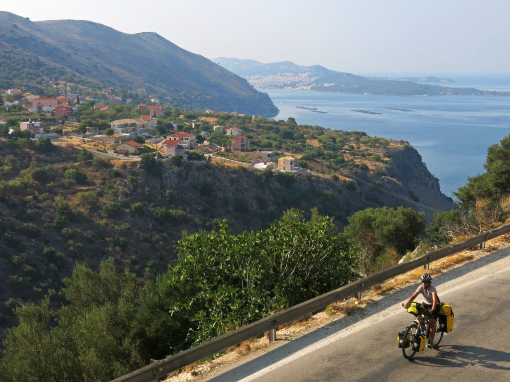 Kristin riding along the coast on Kefalonia.