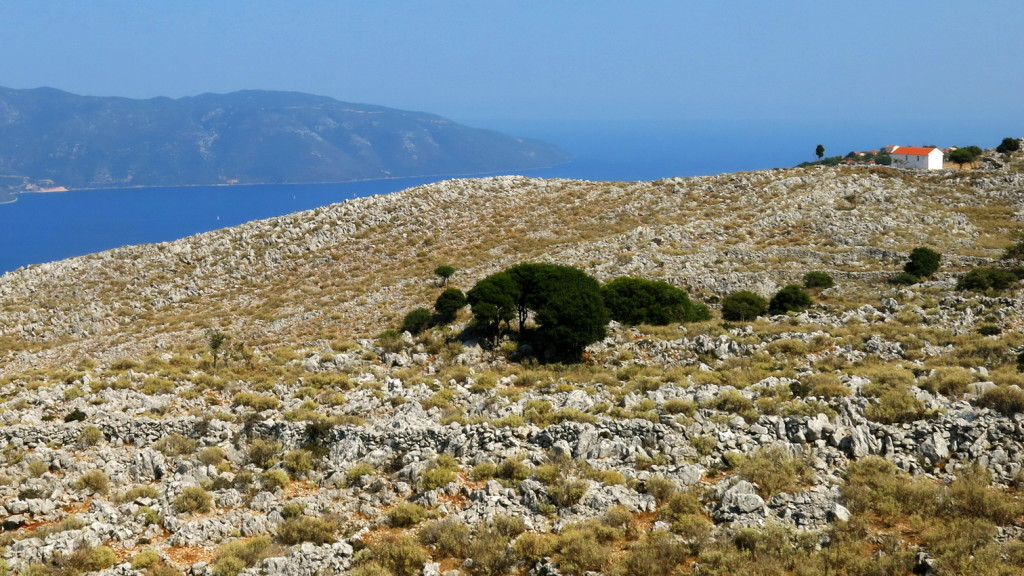 The view from the top of northern Kefalonia, looking out to the island of Ithaca.