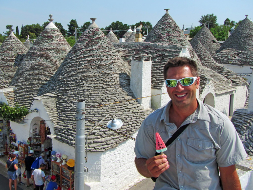 "The Trulli houses of Alberobello are worth an hour's visit, but I was most excited about spotting this watermelon popsicle. I hadn't seen one of these since the 1980s! Complete with chocolate ""seeds."" Who remembers these things?"