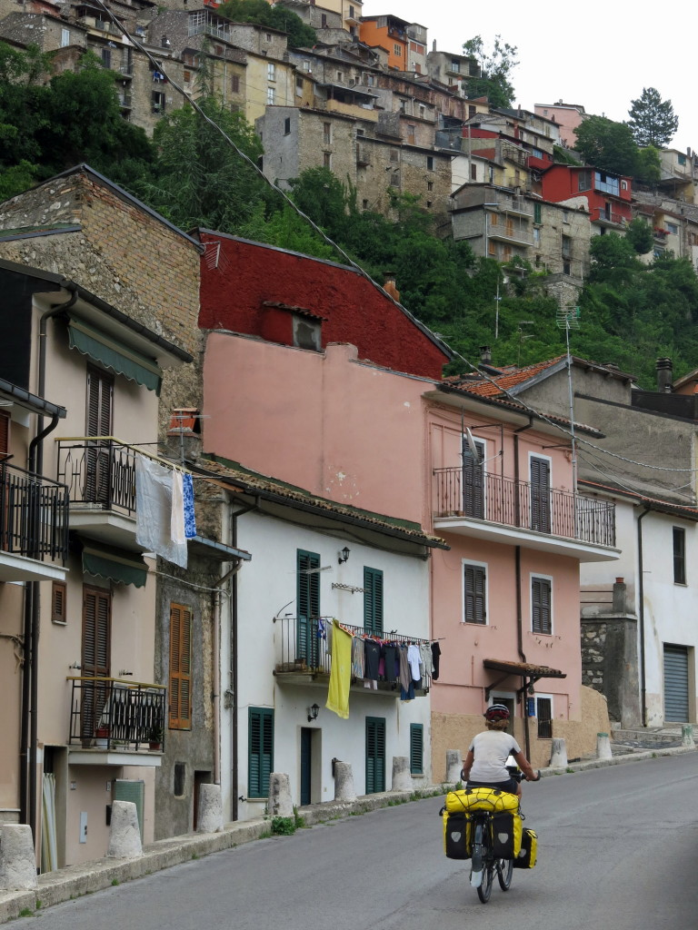 Hilltop towns like Capistrello lose their charm after a long day in the saddle.