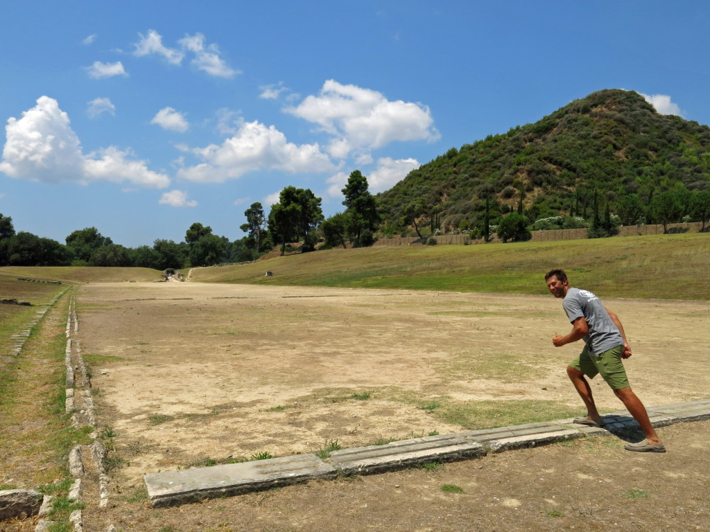 "Was just posing for a photo on the 5th century B.C. stadium track but did end up ""sprinting"" the 192 meters for the fun of it."