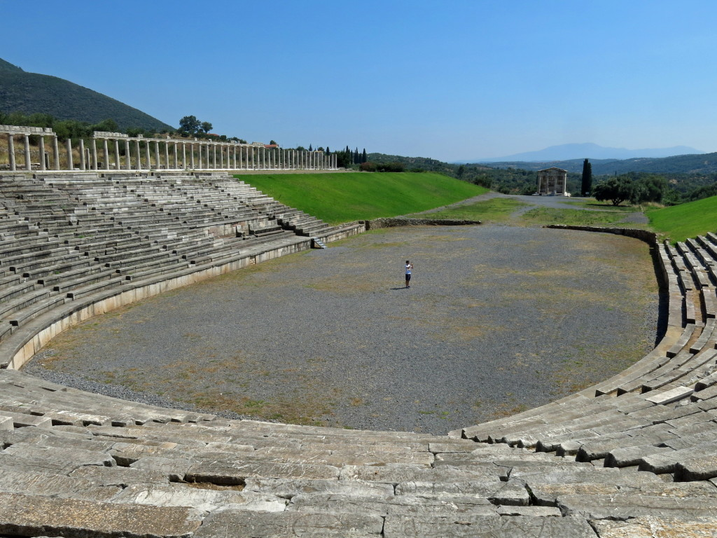 Ancient Messene stadium and mausoleum in the distance. No need to go running here with 20 more miles to go!