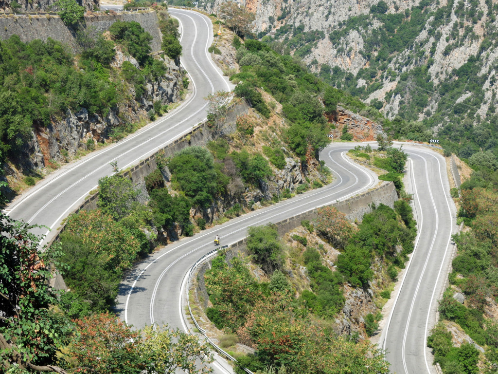 The mountainous highway 82 leading from Kalamata to Mystras.
