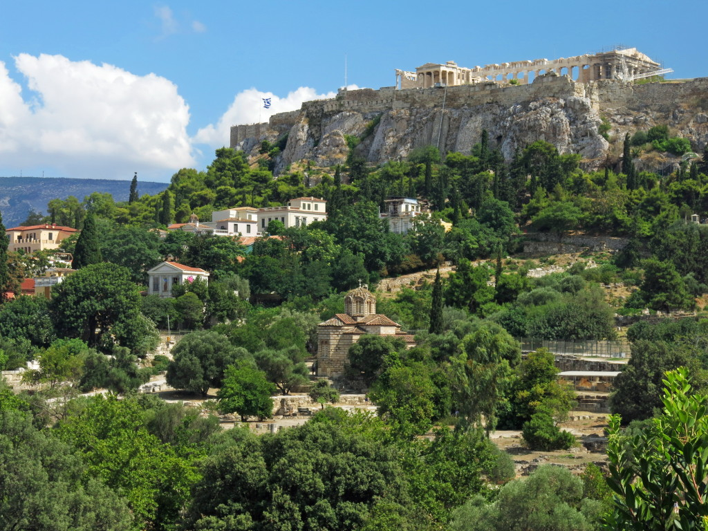 Looking south to the Acropolis from the Agora.