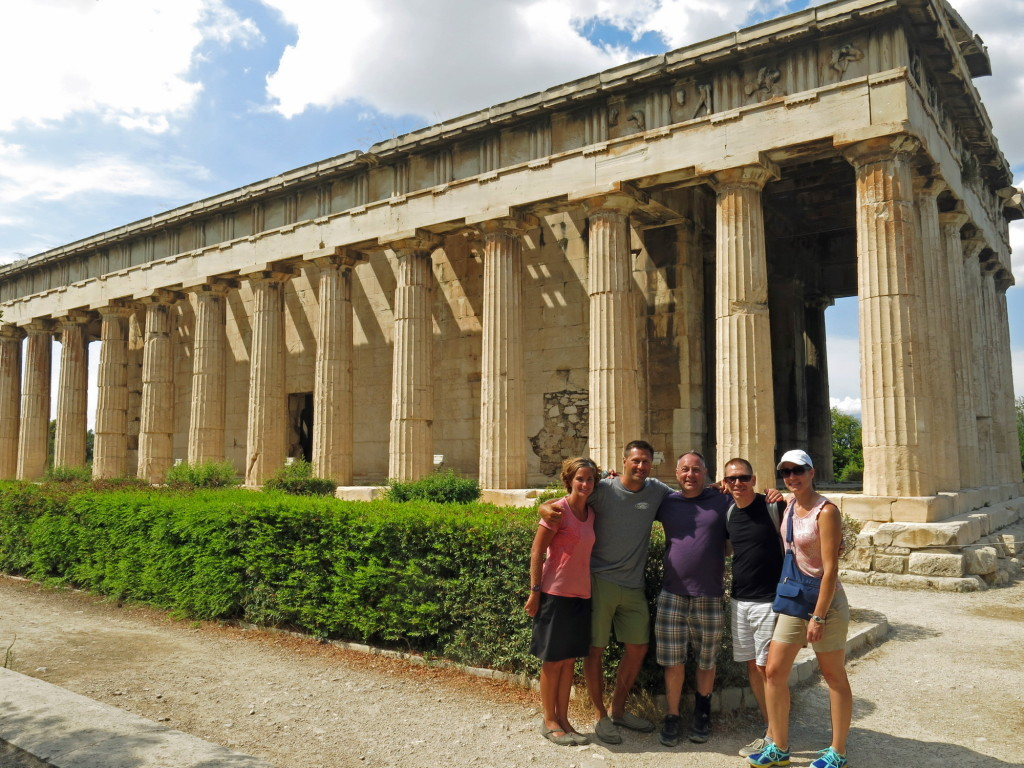 The Temple of Hephaestus and our new friends in the Agora.