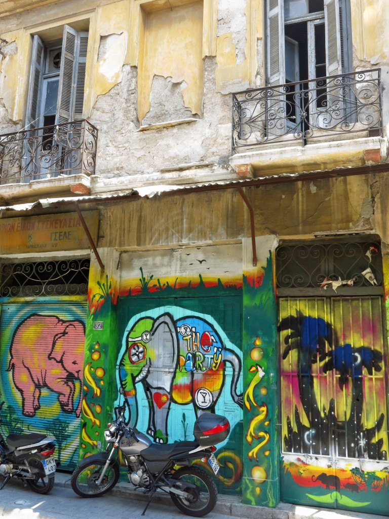 Some of the more attractve graffiti in Athens.
