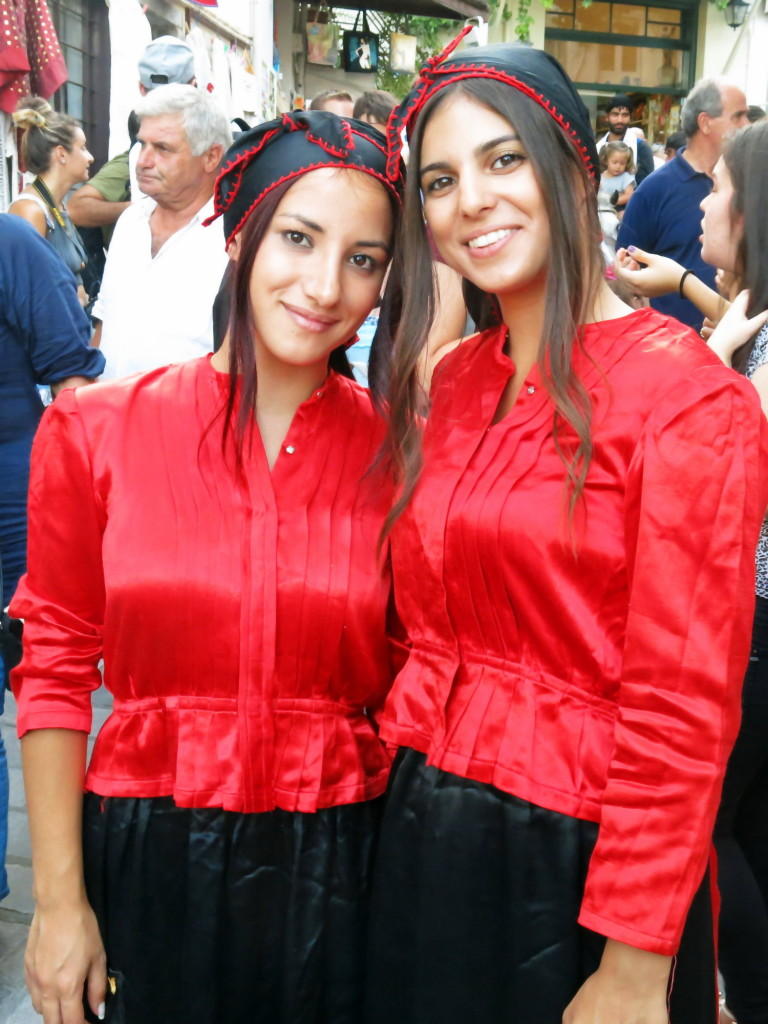 Two local girls attending the wedding in Kritsa.