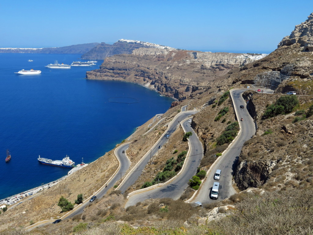 The 2-mile, 800 foot climb out of the port in Santorini.