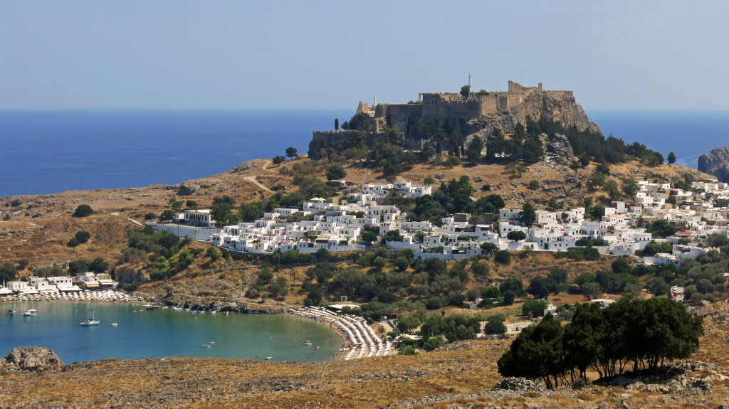 The town of Lindos on Rhodes, where we stayed two nights a short walk from the ancient Acropolis atop the town.