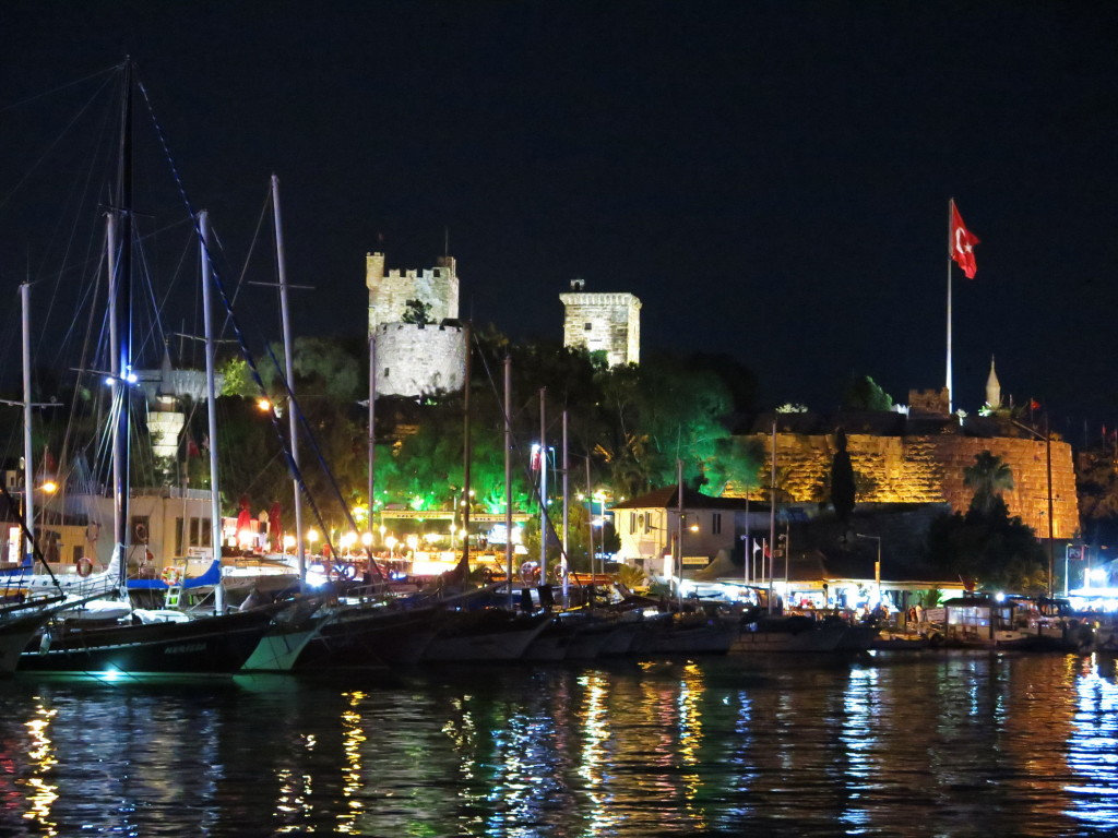 Bodrum harbor at night.