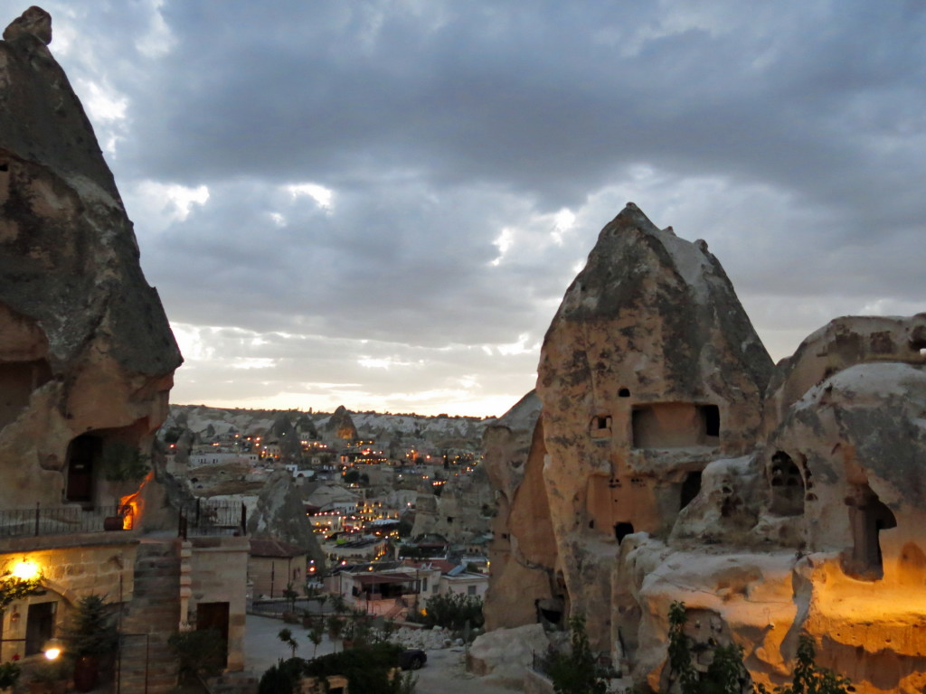 Table with a view. Sunset at Goreme from Nostalgia Restaurant.