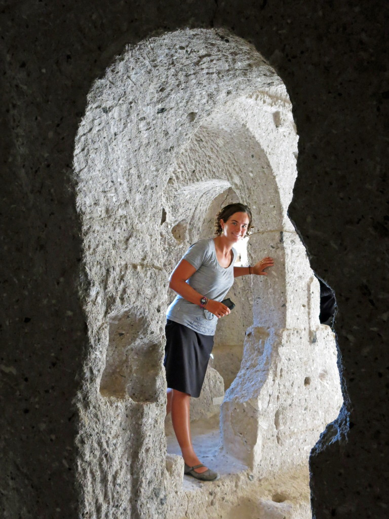 Kristin in one of the fairy chimneys of Soganli Valley.