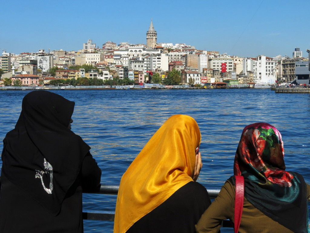 Looking across the Golden Horn to Karakoy and the Galata Tower in Istanbul.