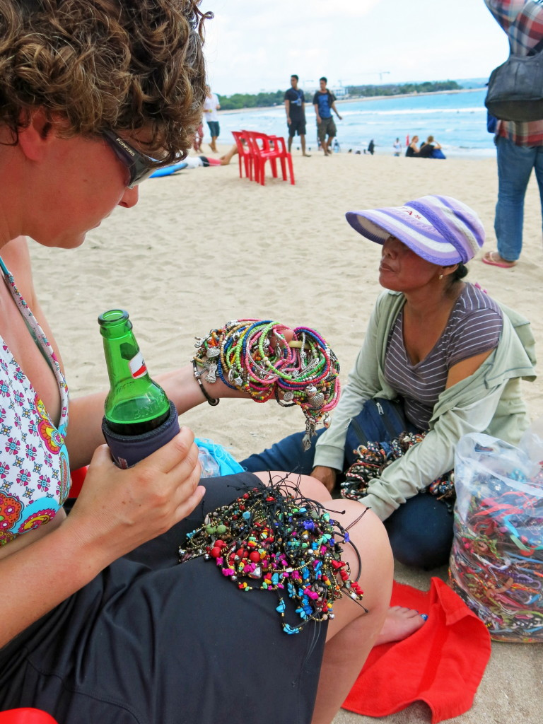 It's easy to get frustrated by the people always trying to sell you something on the beaches in the Mediterranean and in Bali, but they're just trying to earn a living. We decided quickly that it was far more enjoyable to chat them up and maybe buy something instead of being rude or getting flustered.