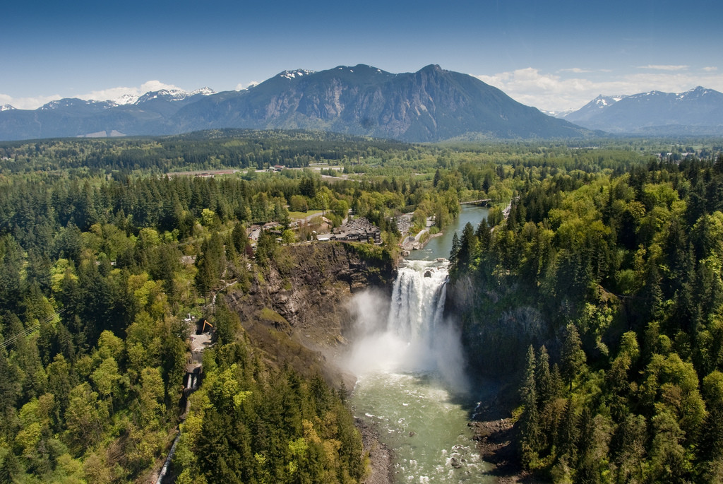 Aerial view of Snoqualmie Falls, the iconic waterfall two short miles from the neighborhood we'll be returning to. Photo by Puget Sound Energy.