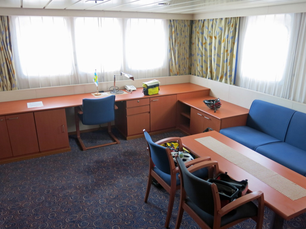 The main living space of our cabin aboard the Hatsu Crystal.