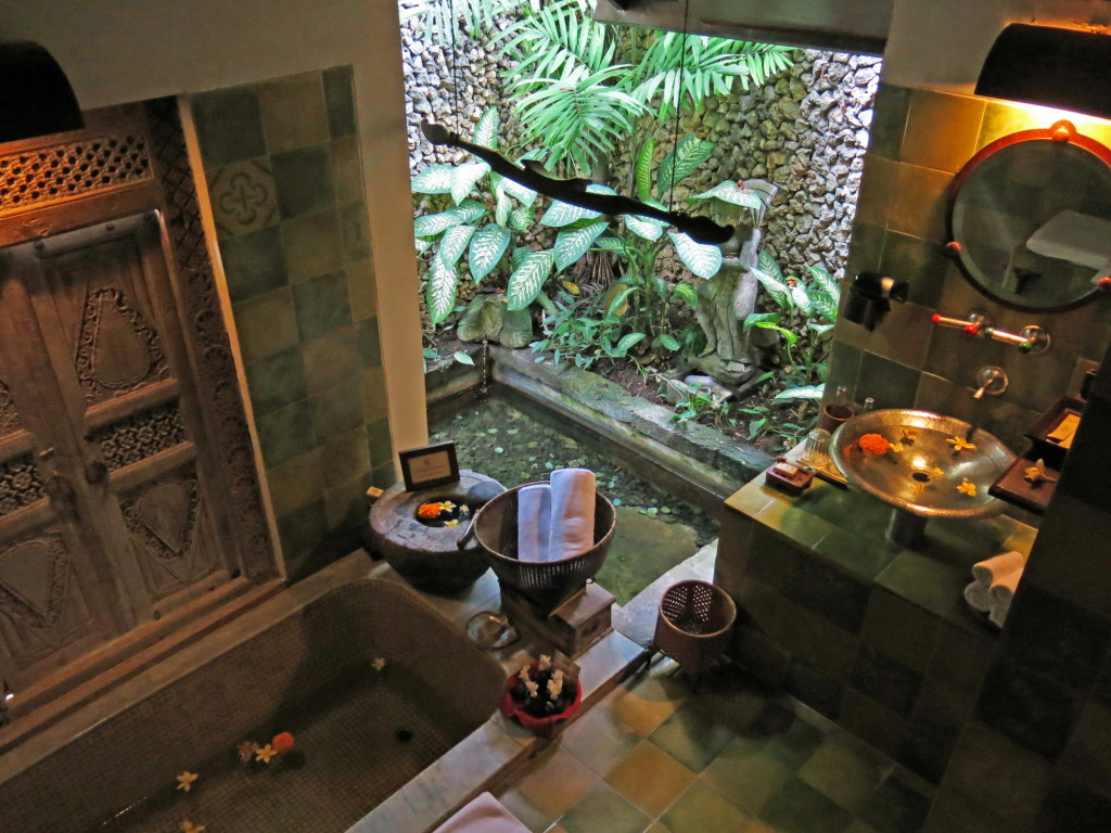 Our open-air bathroom at Hotel Tugu Balil, complete with a koi pond that wraps around to the front of the villa.