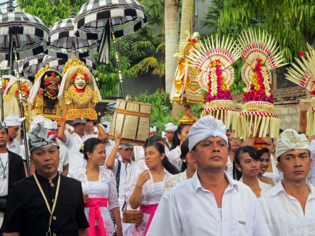 One of the joys of Bali is you never know when there's going to be another procession to a nearby temple.