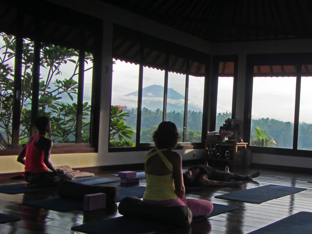 The volcano was out for our final yoga class this morning. Going to really miss this studio.